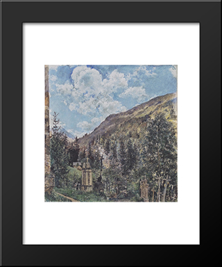 The Cemetery In Gastein: Modern Black Framed Art Print by Rudolf von Alt