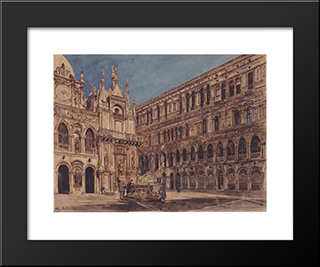 The Courtyard Of The Doge'S Palace In Venice: Modern Black Framed Art Print by Rudolf von Alt