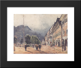 The Esplanade In Ischl: Modern Black Framed Art Print by Rudolf von Alt