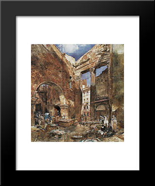 The Fish Market In Rome: Modern Black Framed Art Print by Rudolf von Alt
