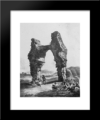 The Heathens: Modern Black Framed Art Print by Rudolf von Alt
