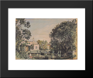 The Imperial Palace Livadia In The Crimea: Modern Black Framed Art Print by Rudolf von Alt