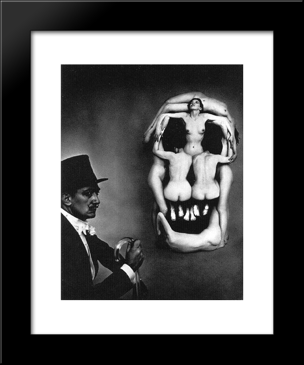 Women Forming A Skull: Modern Black Framed Art Print by Salvador Dali