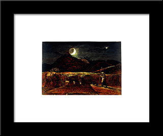 A Cornfield By Moonlight With The Evening Star: Modern Black Framed Art Print by Samuel Palmer