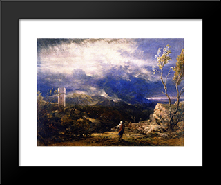 Christian Descending Into The Valley Of Humiliation: Modern Black Framed Art Print by Samuel Palmer