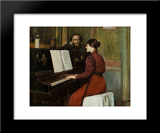 A Romance: Modern Black Framed Art Print by Santiago Rusinol