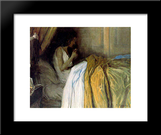 Before The Morphine: Modern Black Framed Art Print by Santiago Rusinol