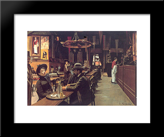 Cafe Des Incoherents, Montmartre: Modern Black Framed Art Print by Santiago Rusinol