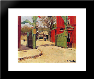 Moulin De La Galette: Modern Black Framed Art Print by Santiago Rusinol