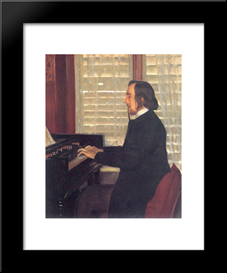 Portrait Of Eric Satie At The Harmonium: Modern Black Framed Art Print by Santiago Rusinol