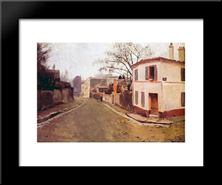 Rue Des Saules In Montmartre: Modern Black Framed Art Print by Santiago Rusinol