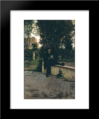 Senyor Quer In The Garden: Modern Black Framed Art Print by Santiago Rusinol