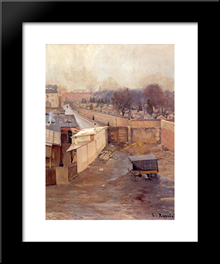 The Cemetery, Montmartre: Modern Black Framed Art Print by Santiago Rusinol