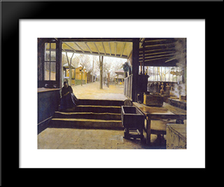The Kitchens, Moulin De La Galette: Modern Black Framed Art Print by Santiago Rusinol