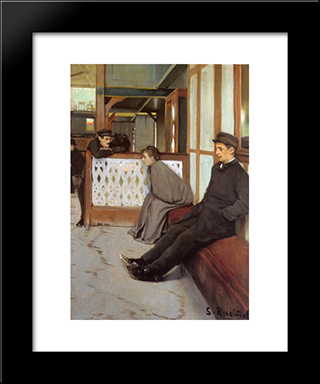 Waiting For Customers: Modern Black Framed Art Print by Santiago Rusinol