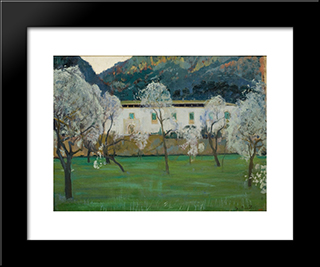 White Farmhouse (Bunyola, Majorca): Modern Black Framed Art Print by Santiago Rusinol