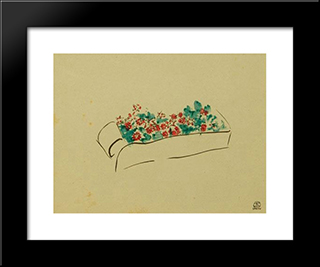 Box Of Flowers: Modern Black Framed Art Print by Sanyu