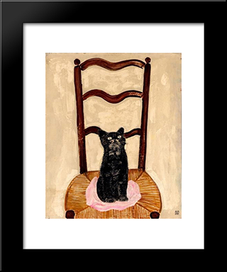 Cat On A Chair: Modern Black Framed Art Print by Sanyu