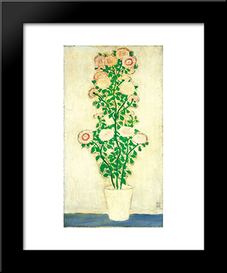 Chrysanthemums With Green Leaves: Modern Black Framed Art Print by Sanyu