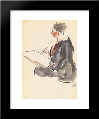 Female Painter Wearing A Beryl Ring: Modern Black Framed Art Print by Sanyu
