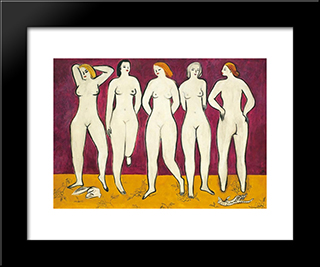 Five Nudes: Modern Black Framed Art Print by Sanyu