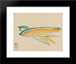 Golden Yellow Corn: Modern Black Framed Art Print by Sanyu