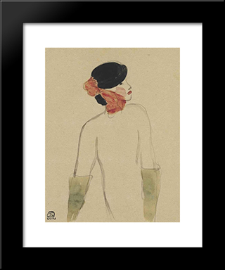 Lady With Gloves: Modern Black Framed Art Print by Sanyu