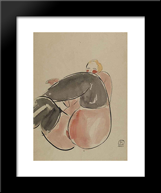 Lifting Up A Leg: Modern Black Framed Art Print by Sanyu