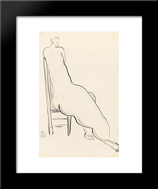 Nude On High Back Chair: Modern Black Framed Art Print by Sanyu
