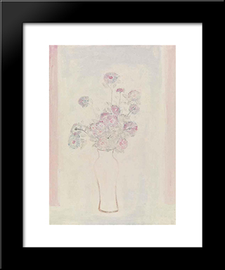 Pink Chrysanthemums In A White Vase: Modern Black Framed Art Print by Sanyu