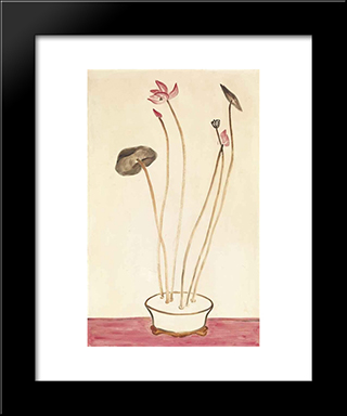 Pink Lotus: Modern Black Framed Art Print by Sanyu