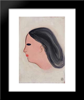 Portrait: Modern Black Framed Art Print by Sanyu