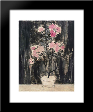 Pot De Chrysanthemes Roses: Modern Black Framed Art Print by Sanyu