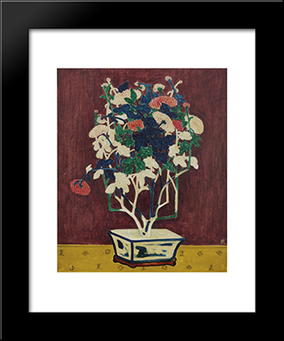Potted Chrysanthemums: Modern Black Framed Art Print by Sanyu