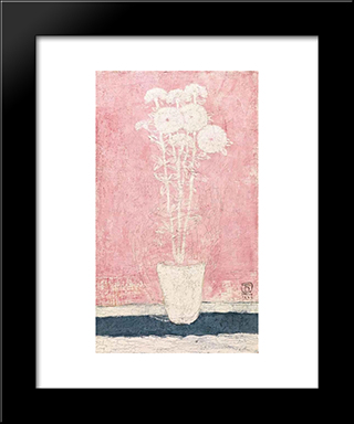 Potted Flowers: Modern Black Framed Art Print by Sanyu