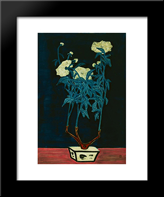 Potted Flowers In A Blue And White Jardiniere: Modern Black Framed Art Print by Sanyu