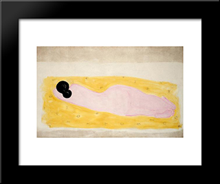 Reclining Nude: Modern Black Framed Art Print by Sanyu