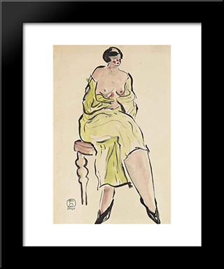 Seated Lady In Green: Modern Black Framed Art Print by Sanyu
