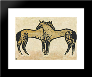 Two Spotted Horses: Modern Black Framed Art Print by Sanyu