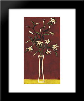 Vase Of Lilies With Red Ground: Modern Black Framed Art Print by Sanyu