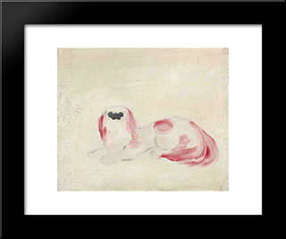 White Pekinese: Modern Black Framed Art Print by Sanyu