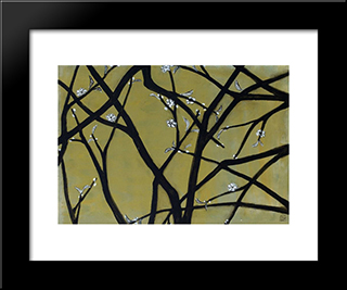White Plum Blossoms: Modern Black Framed Art Print by Sanyu