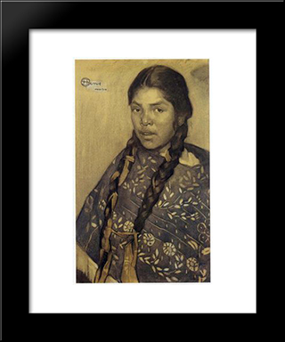 Indian With Quechquemitl: Modern Black Framed Art Print by Saturnino Herran