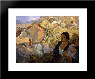 La Cosecha: Modern Black Framed Art Print by Saturnino Herran