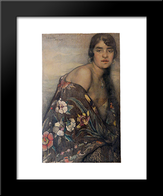 La Criolla Del Manton: Modern Black Framed Art Print by Saturnino Herran