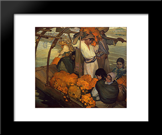 The Offering: Modern Black Framed Art Print by Saturnino Herran