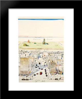 View Of The World From 9Th Avenue: Modern Black Framed Art Print by Saul Steinberg