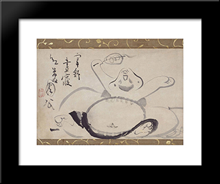 Hotei Wakes From A Nap: Modern Black Framed Art Print by Sengai