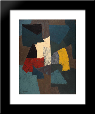 Abstract Composition: Modern Black Framed Art Print by Serge Poliakoff