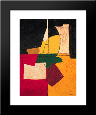 Composition Abstraite Aux Traits: Modern Black Framed Art Print by Serge Poliakoff